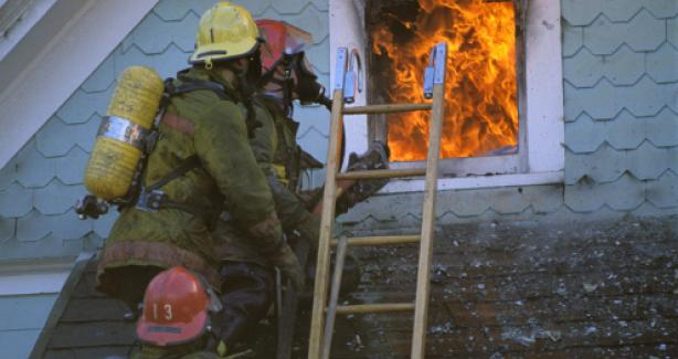 Fire and rescue at a burning house