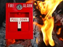 fire alarm with flame background
