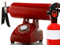 Red phone and fire extinguisher